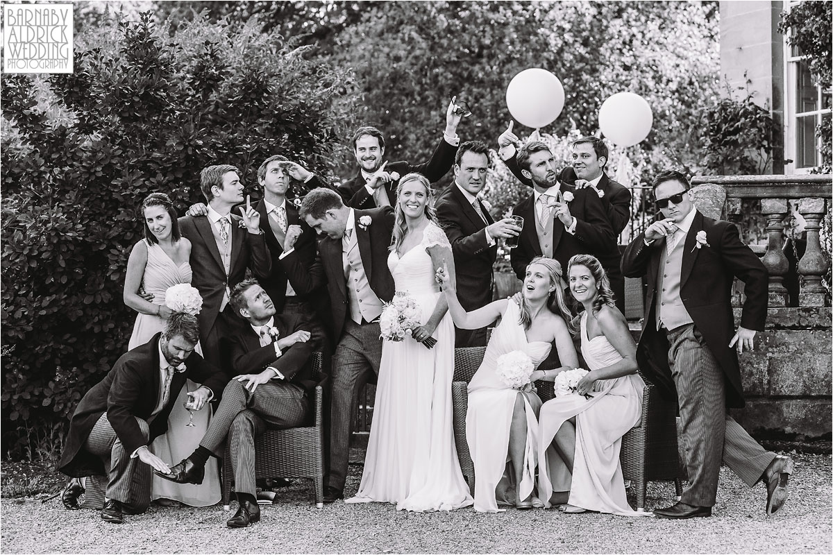Funky group shots of the Bridesmaids and groomsmen at Middleton Lodge in Middleton Tyas near Richmond in Yorkshire