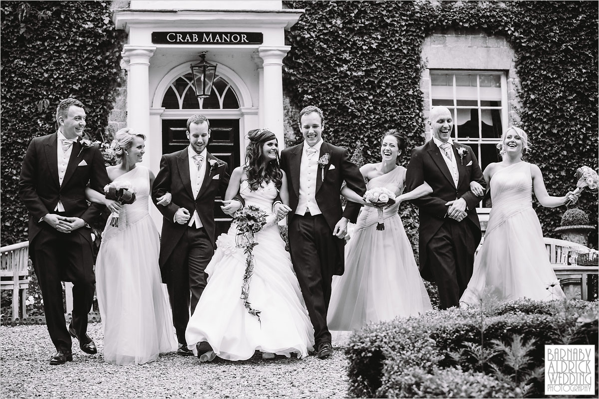 A wedding photography party shot at The Crab and Lobster boutique wedding venue in Yorkshire