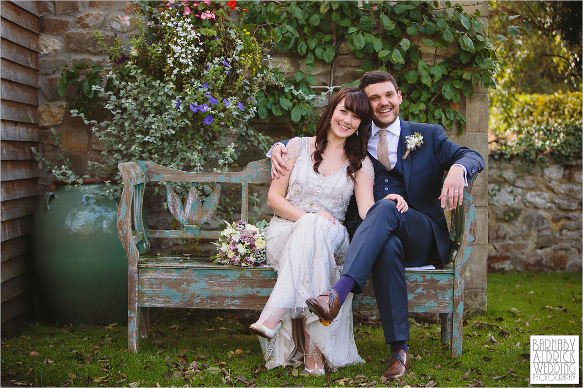 A Wedding photo of sitting outside The Pheasant Hotel in Harome near Helsmley in North Yorkshire