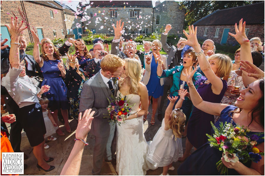 A confetti photograph at Priory Cottages wedding venue near Tadcaster and Wetherby in Yorkshire