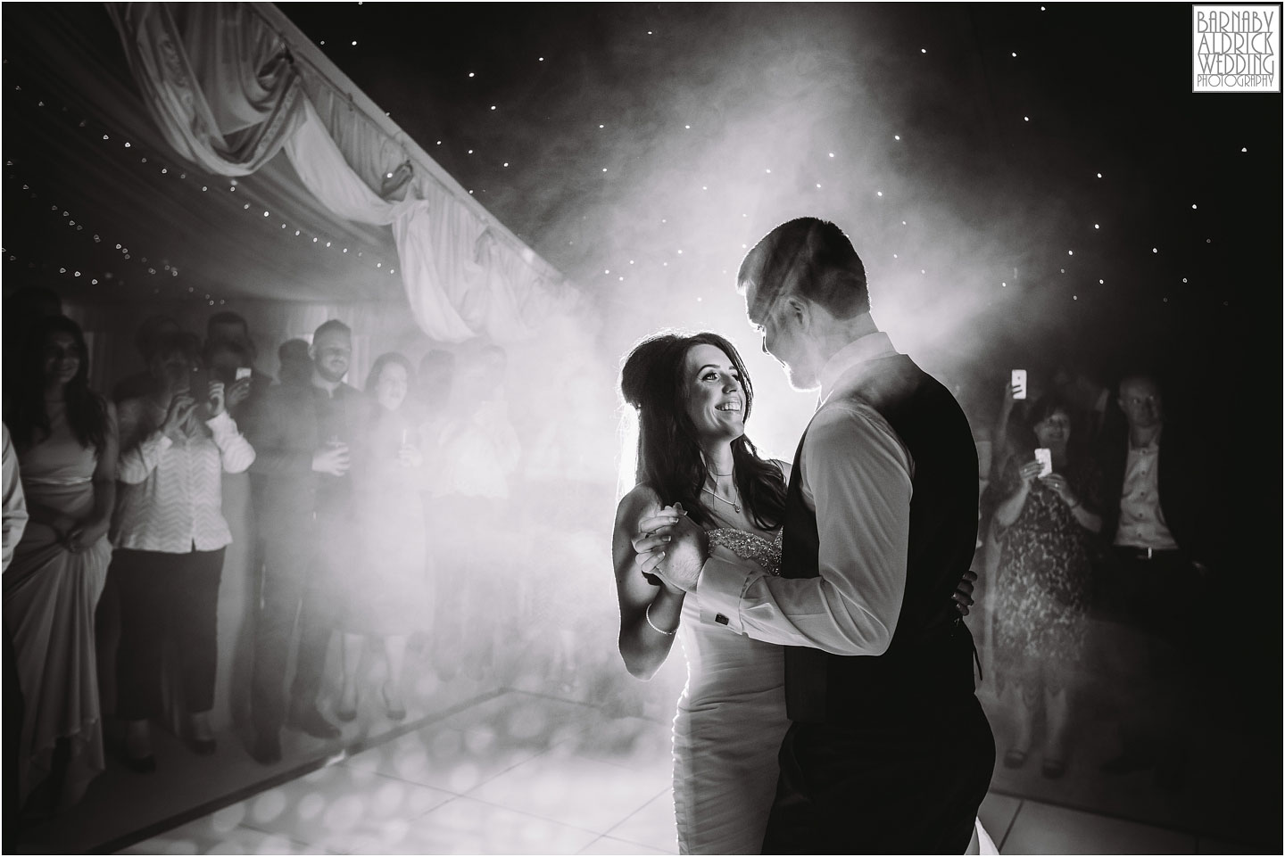 A wedding photograph of a first dance at Priory Cottages wedding venue near Tadcaster and Wetherby in Yorkshire