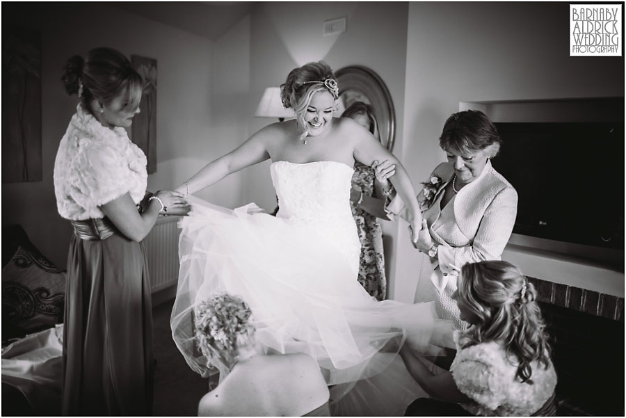 A photograph of bridal preparations at Priory Cottages wedding venue near Tadcaster and Wetherby in Yorkshire