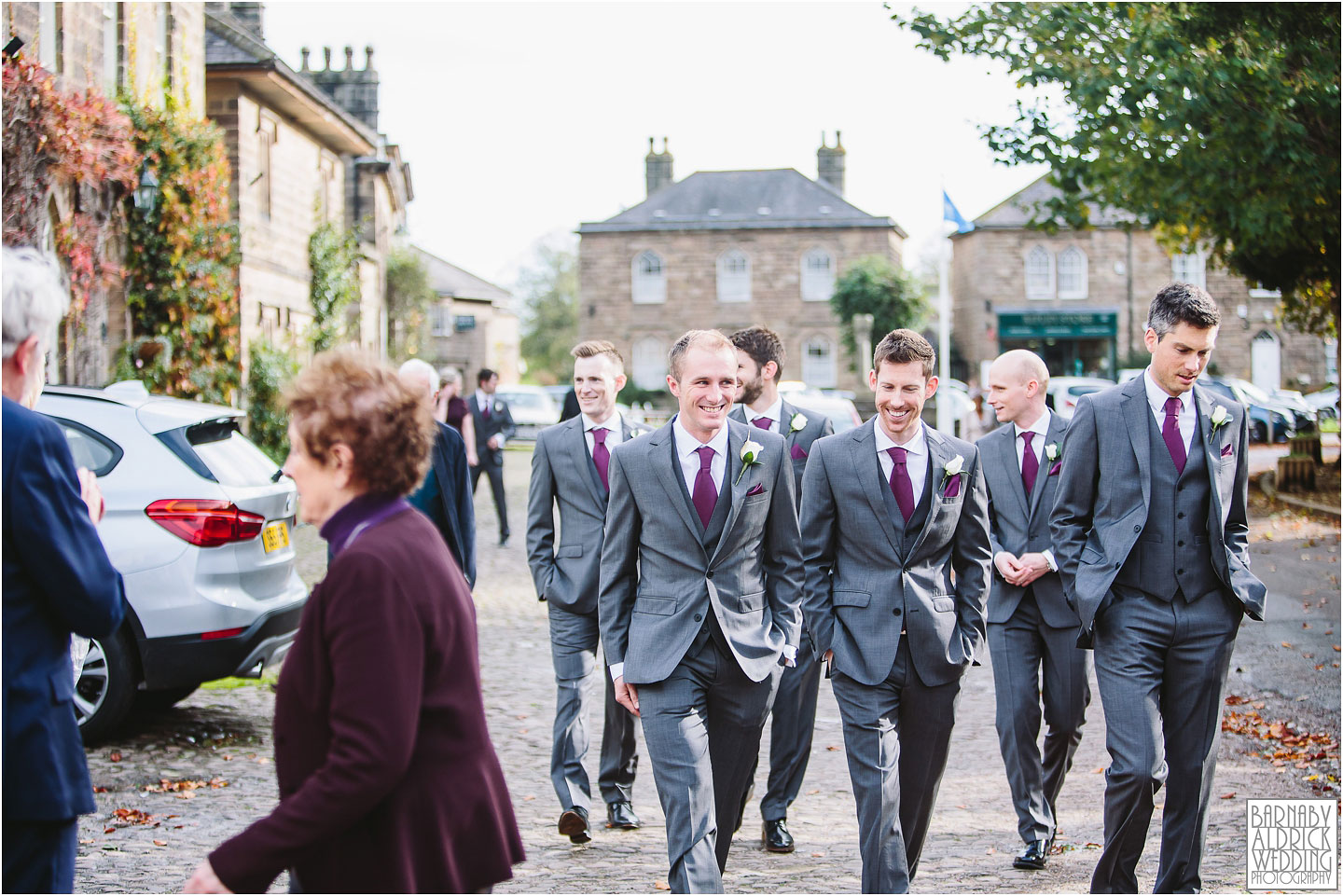 Groomsmen walking, Boar's Head Pub wedding Ripley, Ripley Castle Wedding Photography