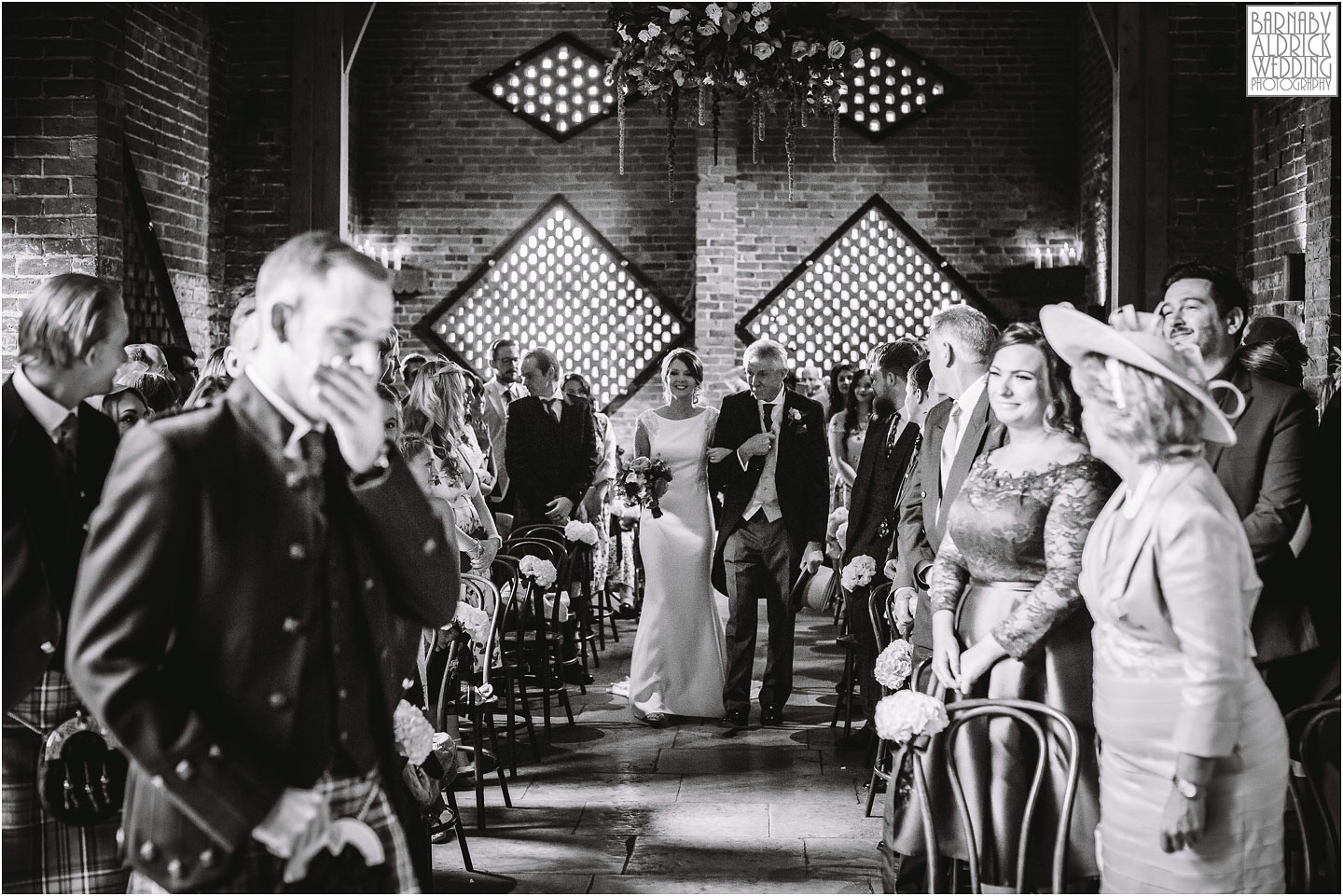 Bridal entry wedding photograph, Shustoke farm barns, Coleshill wedding photographer