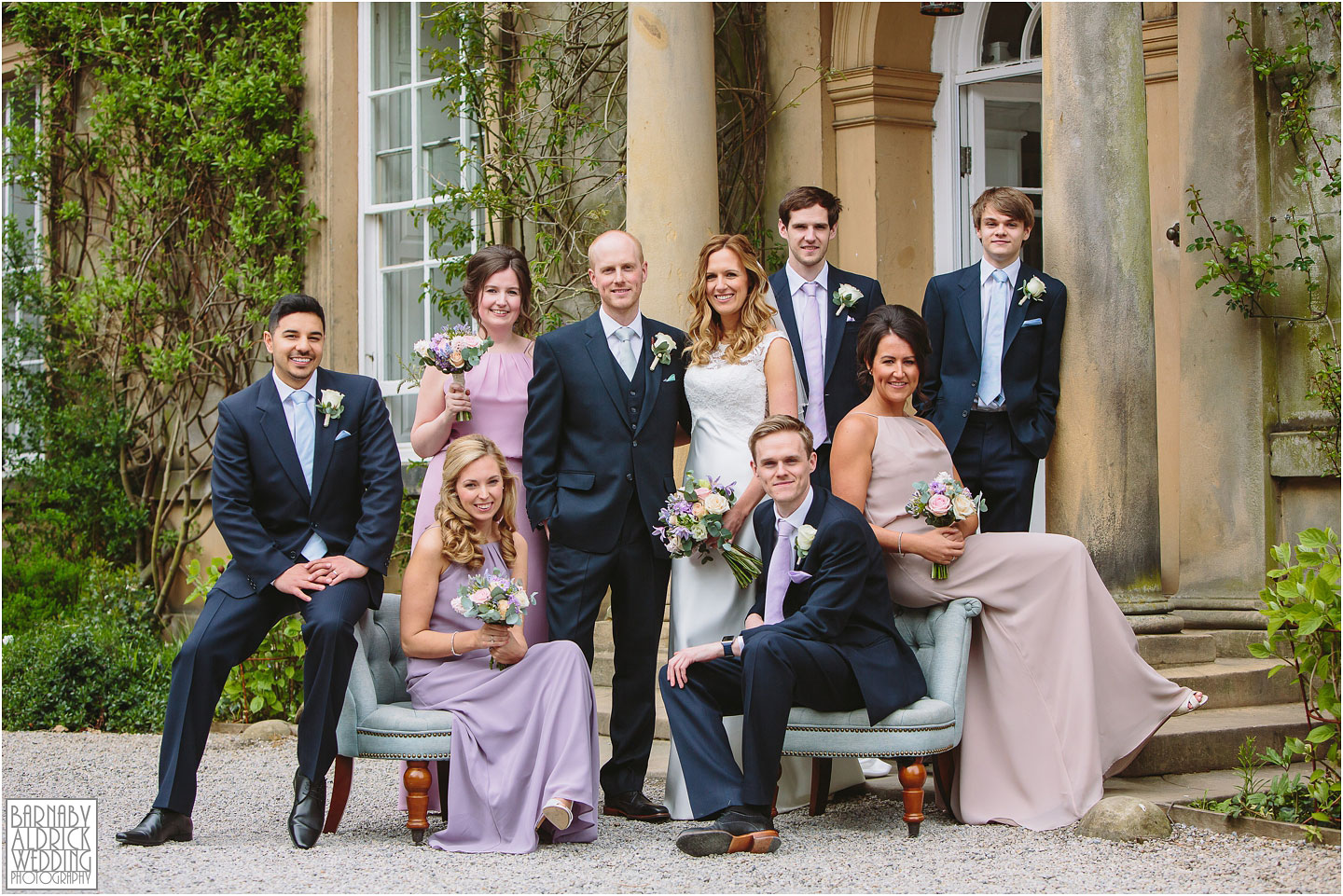 Inventive Wedding photography groupshot, Middleton Lodge Richmond Wedding Photography