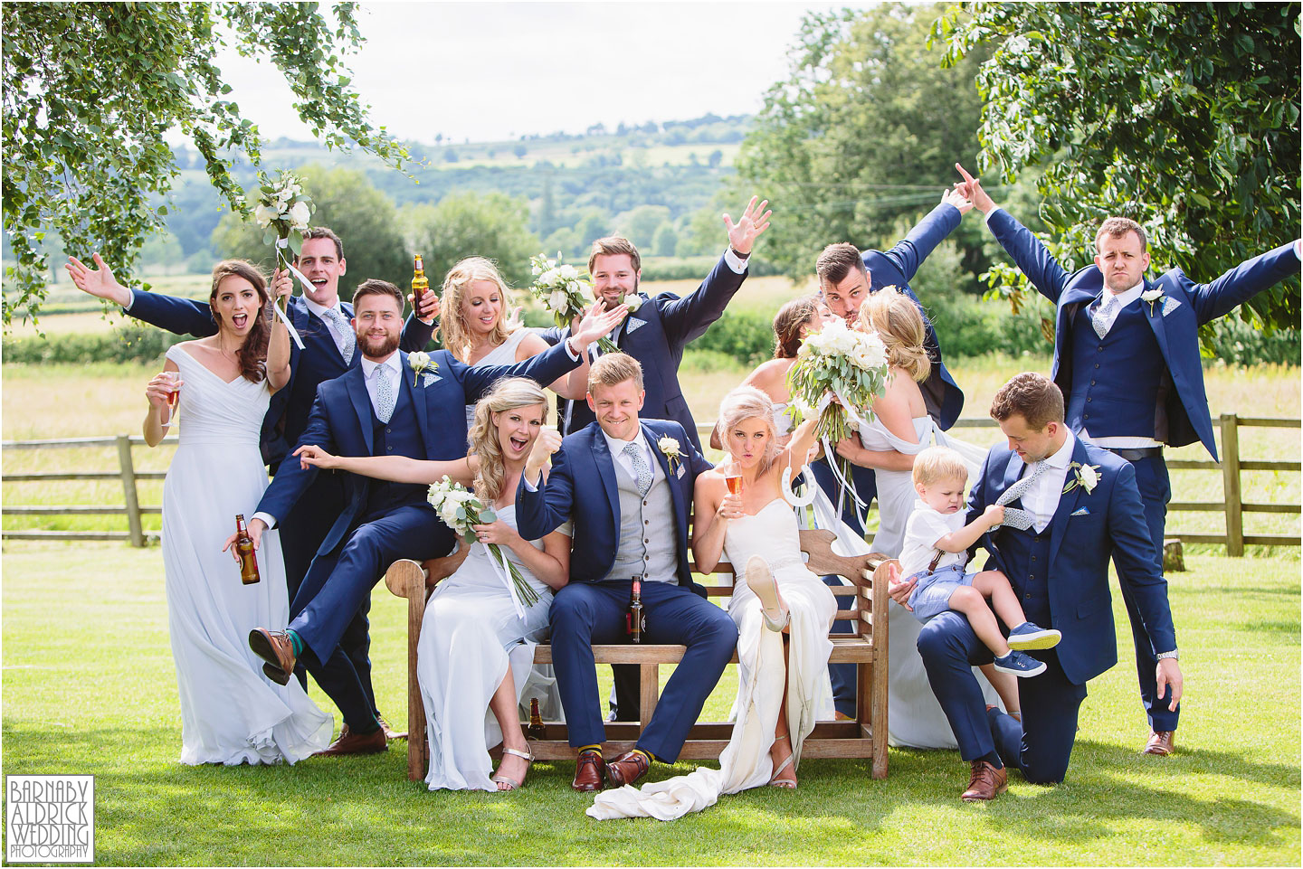 Fun Wedding photography group shot, Hyde Barn in Cotswolds, Cotswolds Wedding Photographer