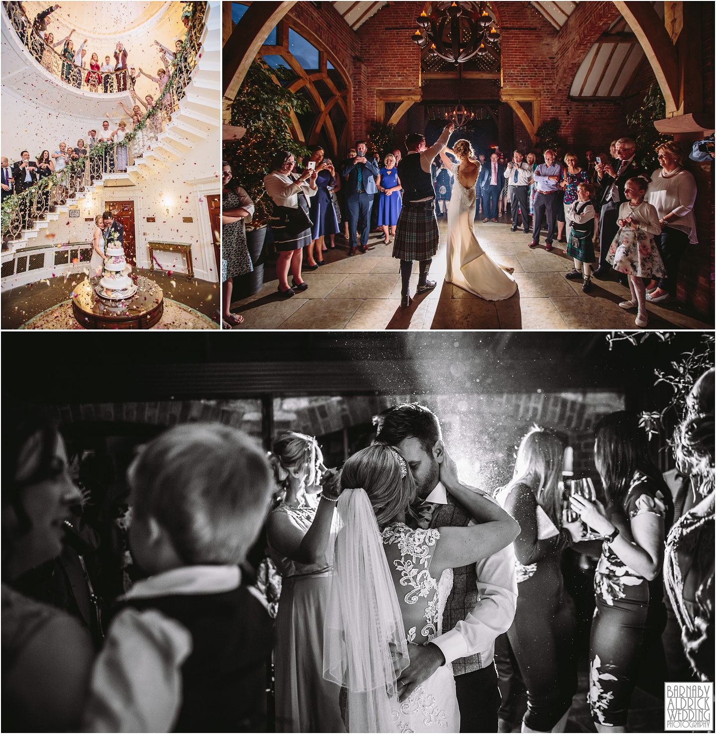First dance photographs, Confetti cake cut, Denton Hall, Shustoke Farm Barns
