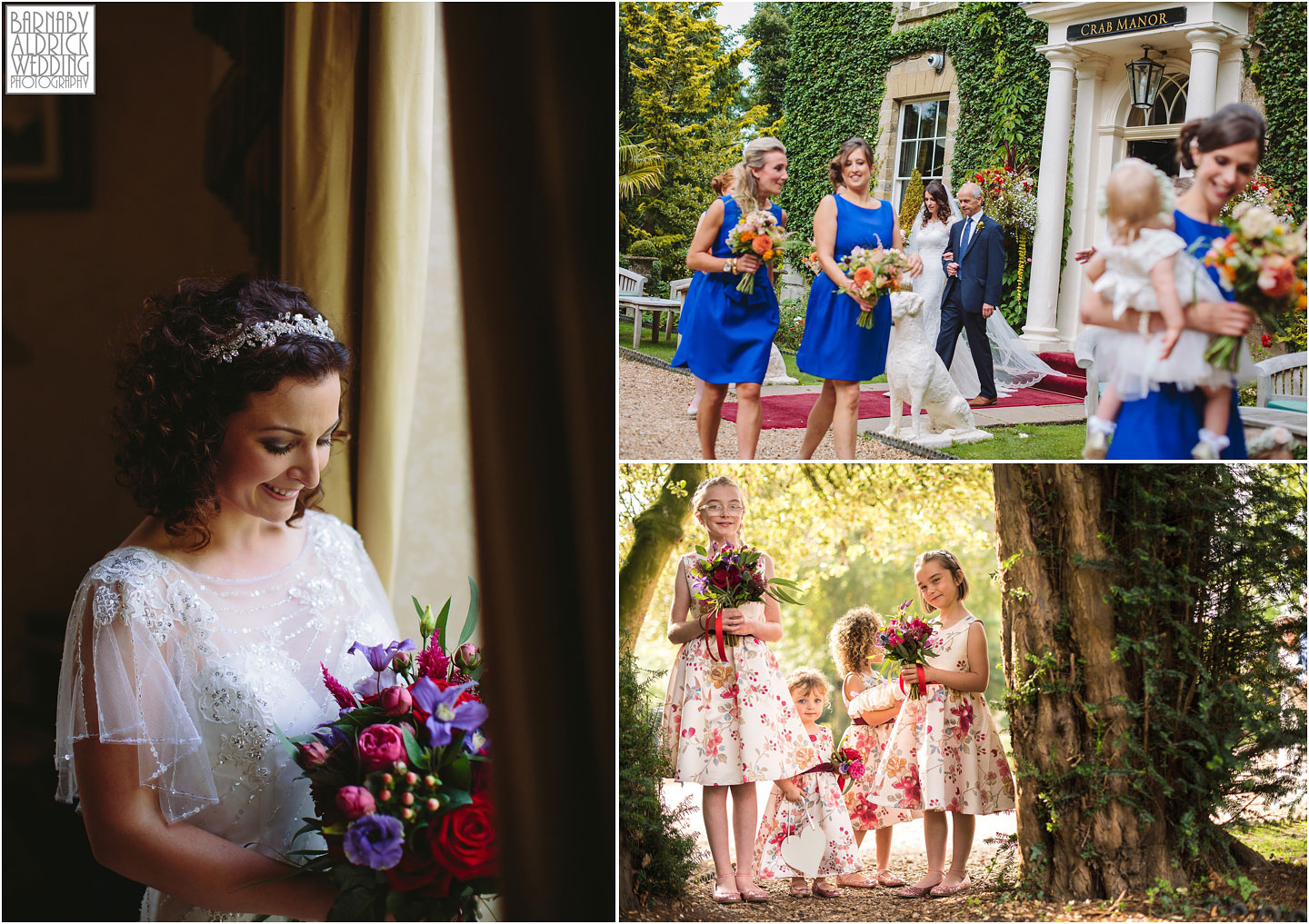 Wedding photo ideas of a Bride and bridesmaids at a civil ceremony at the Crab and Lobster in Thisrk