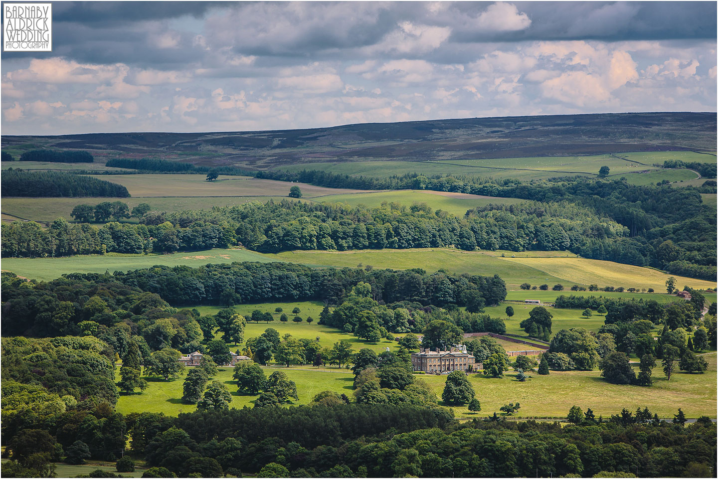 A Wedding photograph of Denton Hall from Otley Chevin in Yorkshire