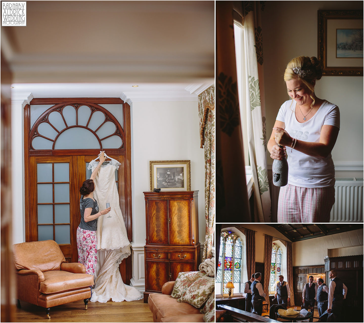 Bridal wedding preparations at Denton Hall near Ilkley in Yorkshire