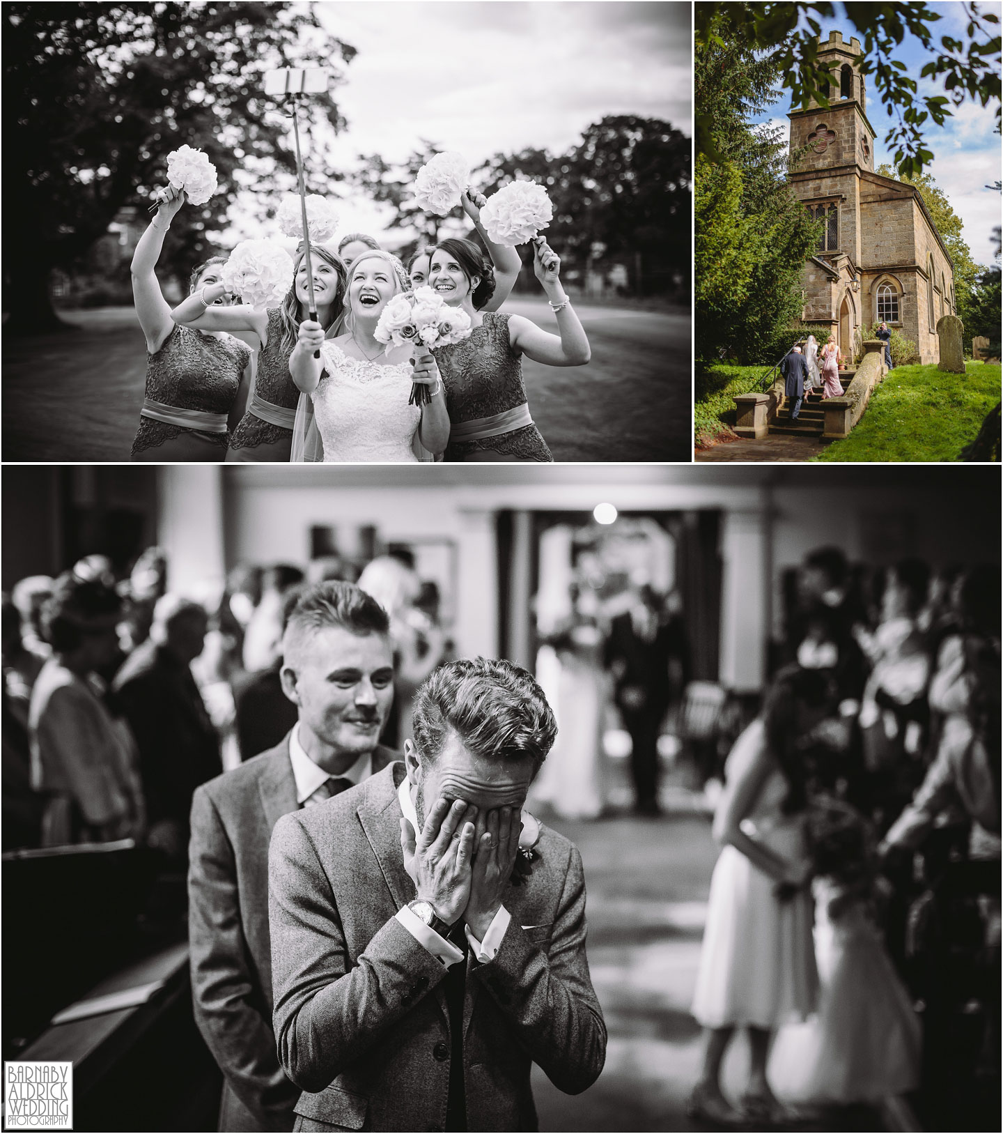 Wedding photos of the bridesmaids and groomsmen at St Helen's Church at Denton Hall in Yorkshire