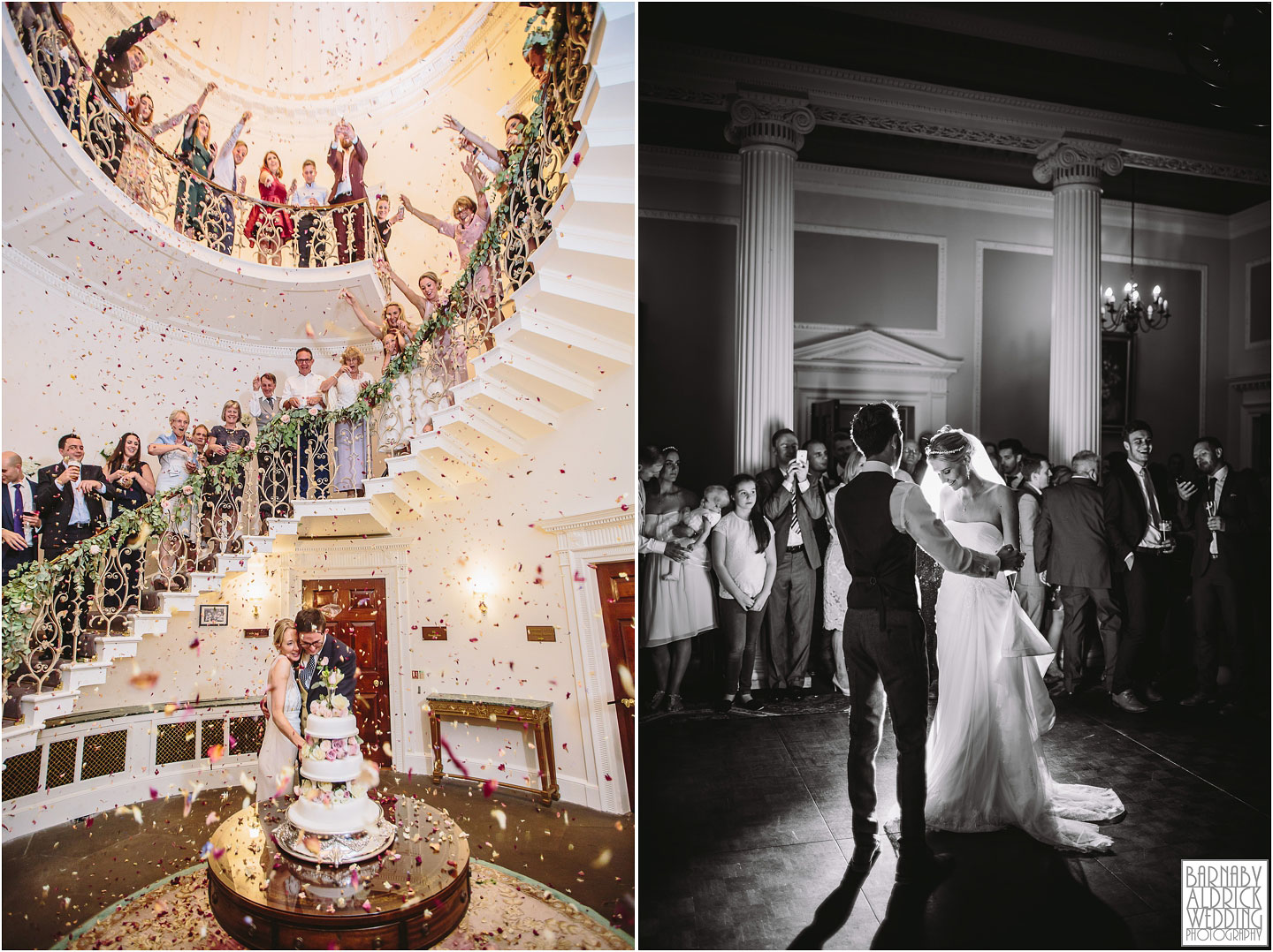Wedding photography of the cake cutting and first dance at Denton Hall near Ilkley