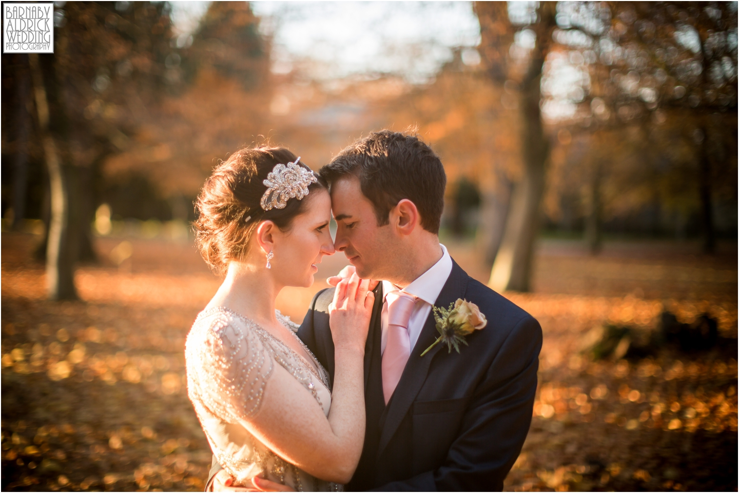 a tender autumnal bride and groom portrait at Middleton Lodge in Richmond