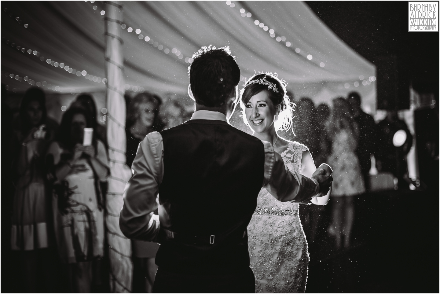 A black and white photograph of the first dance in the Marquee at Middleton Lodge
