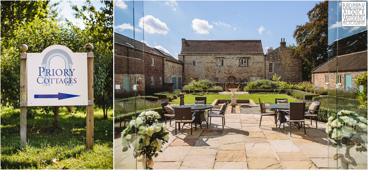 The beautiful courtyard at Priory Cottages farm and barn wedding venue near Leeds and Wetherby in West Yorkshire