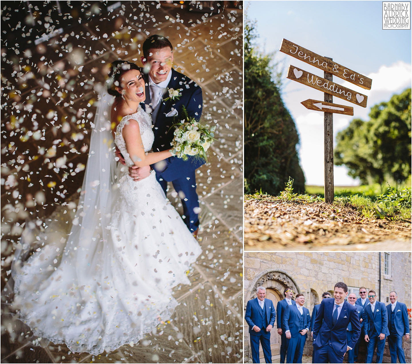 A collage of wedding photographs from Priory Cottages