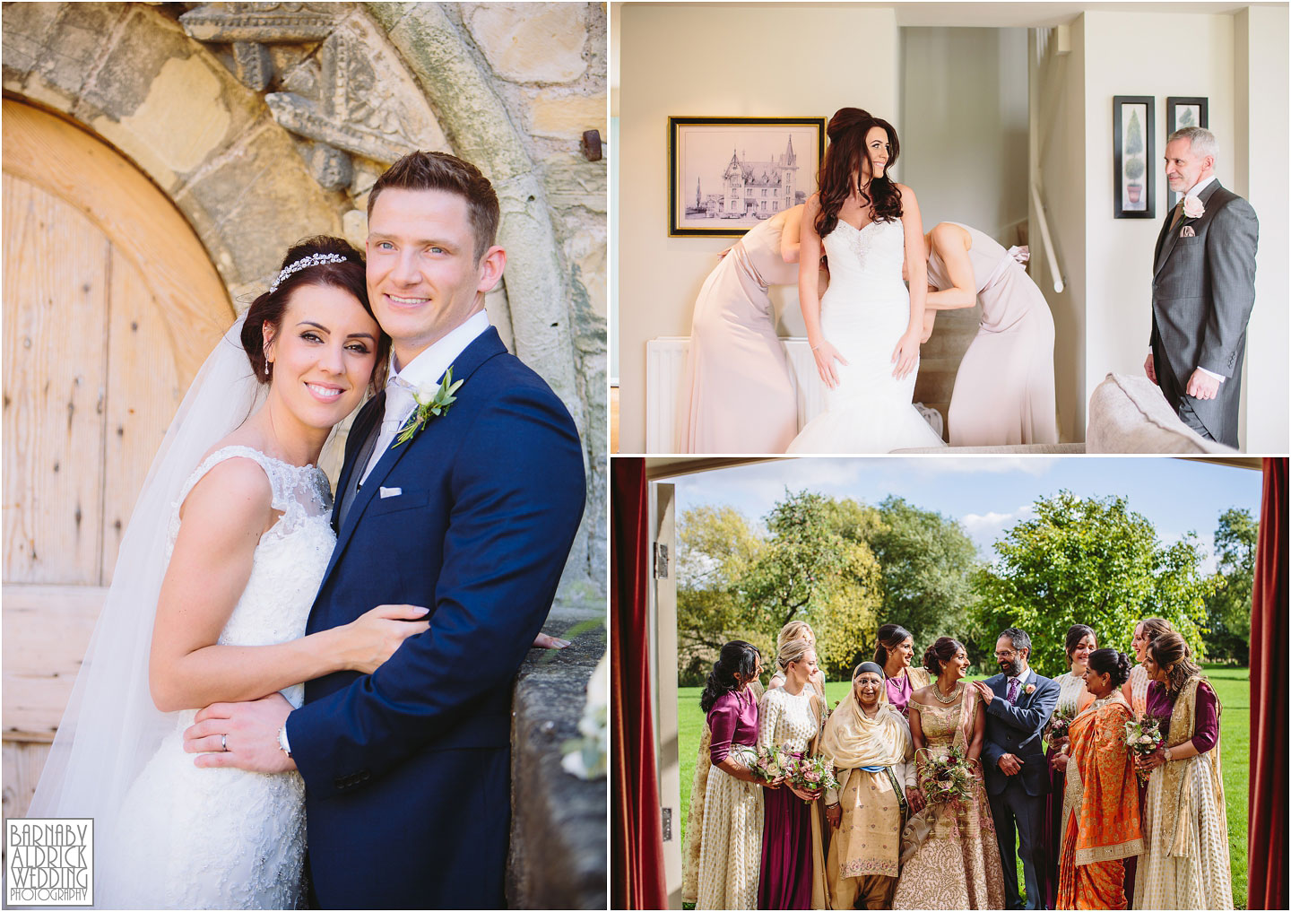 A collage of images of a wedding couple and a family group at Priory Cottages