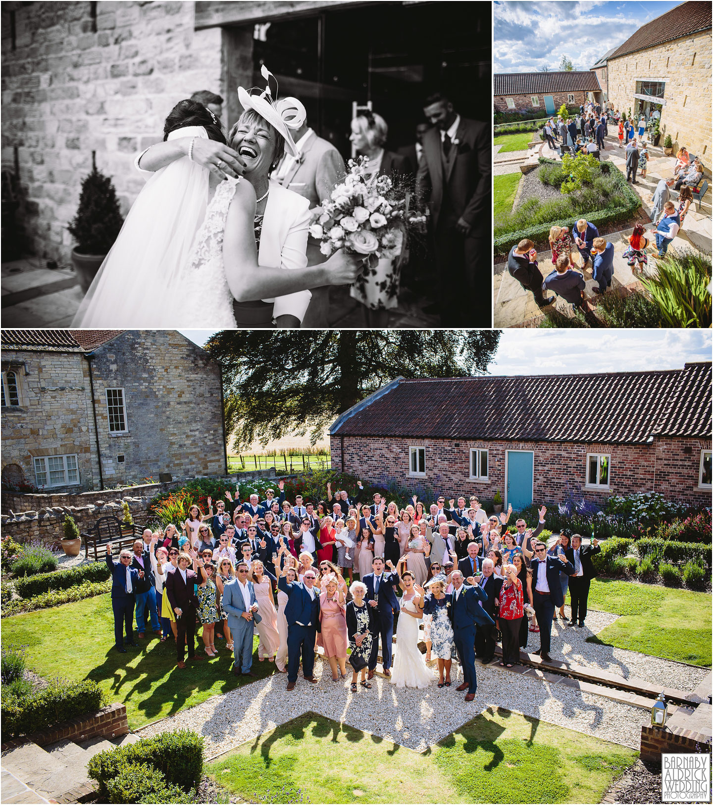 Moments between friends and family at a wedding at Priory Cottages in Yorkshire