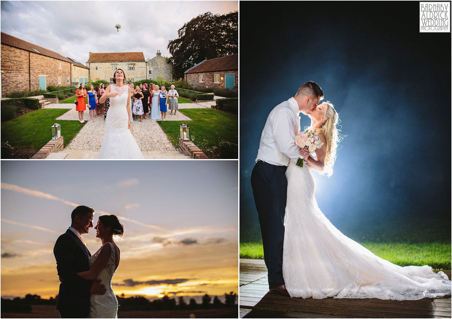 A bouquet toss and evening portraits from weddings at Priory Cottages in Yorkshire