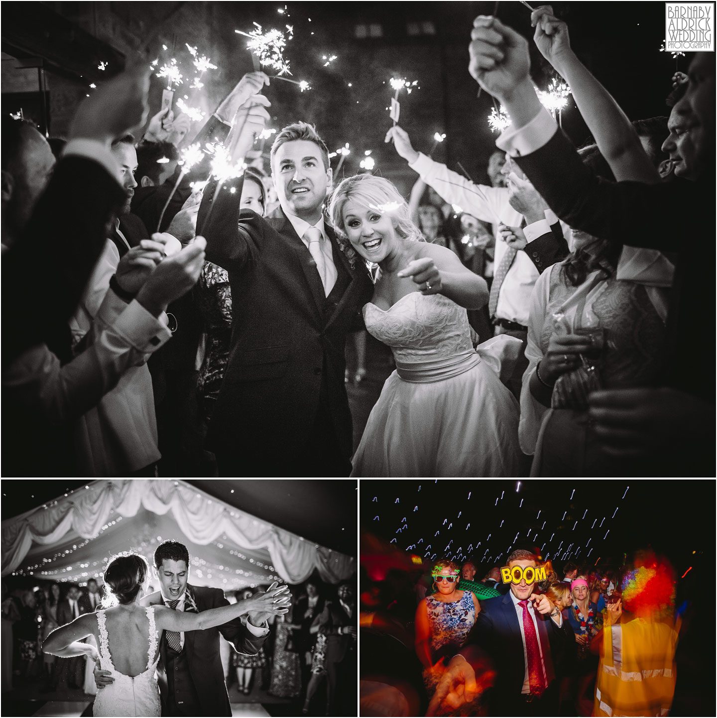 Wedding photos of evening sparklers before first dance at Priory Cottages in Wetherby in West Yorkshrire