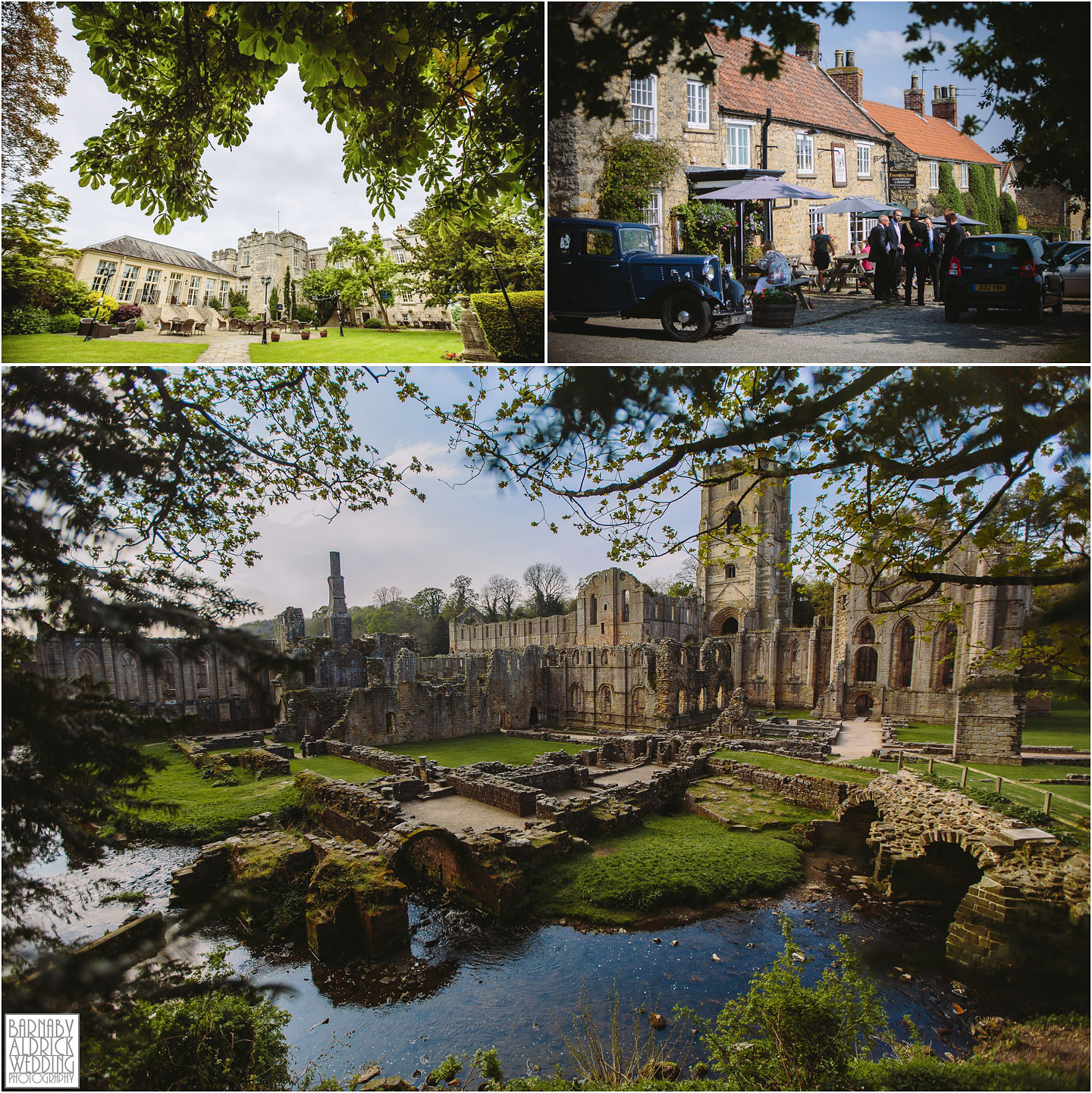 A photograph showing the beautiful Yorkshire wedding venues of Fountains Abbey and Hazlewood Castle
