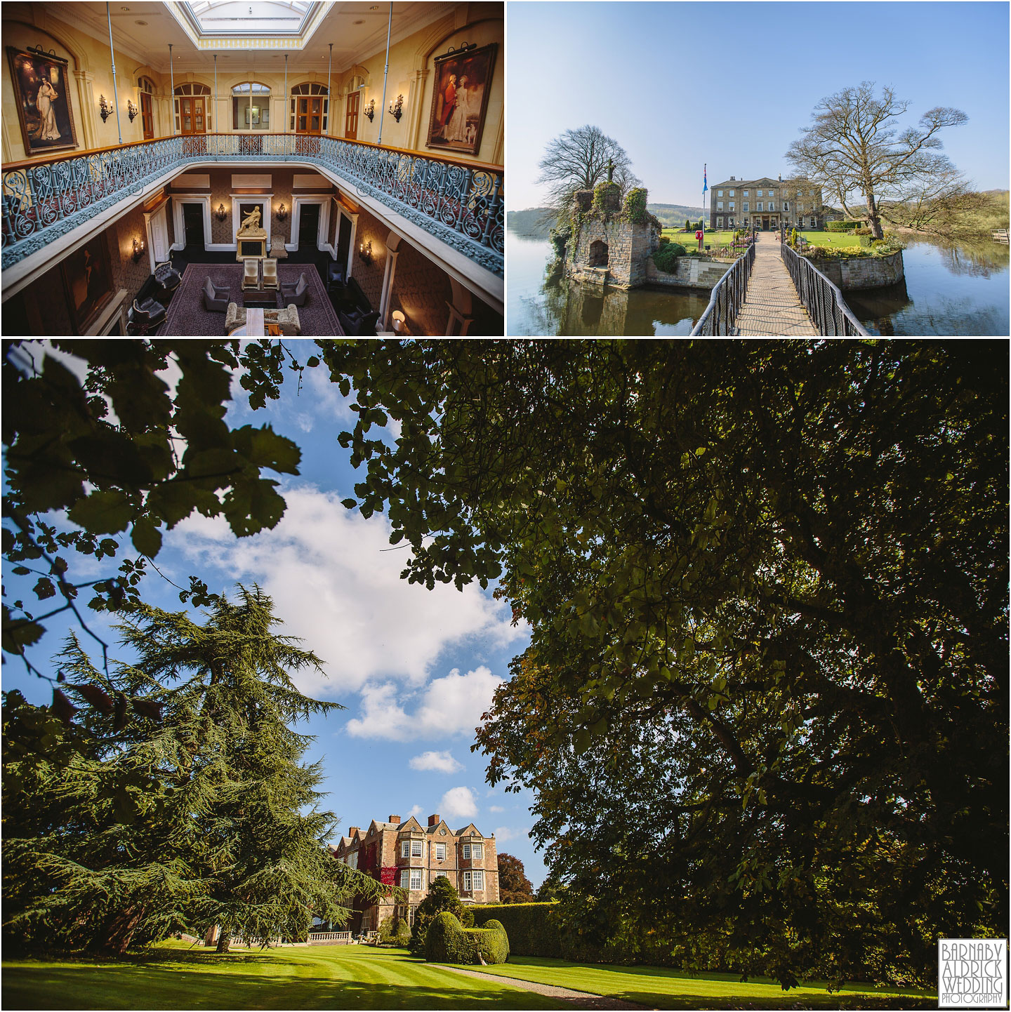 A photograph of three amazing Yorkshire wedding venues Oulton Hall Waterton Park and Goldsborough Hall