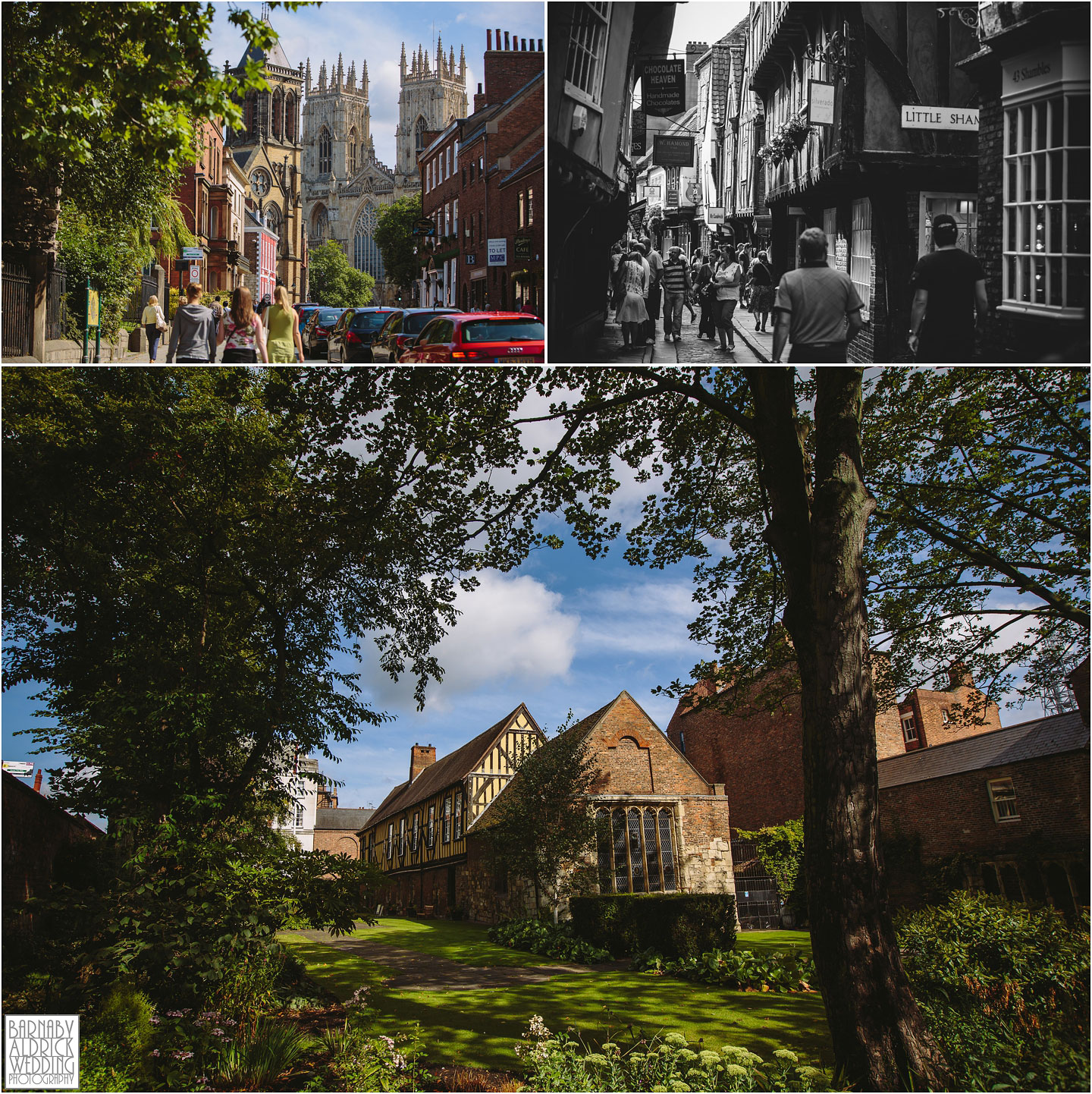 A contextual wedding photograph of York city centre showing the ancient Minster the shambles and The Merchant Adventurers hall
