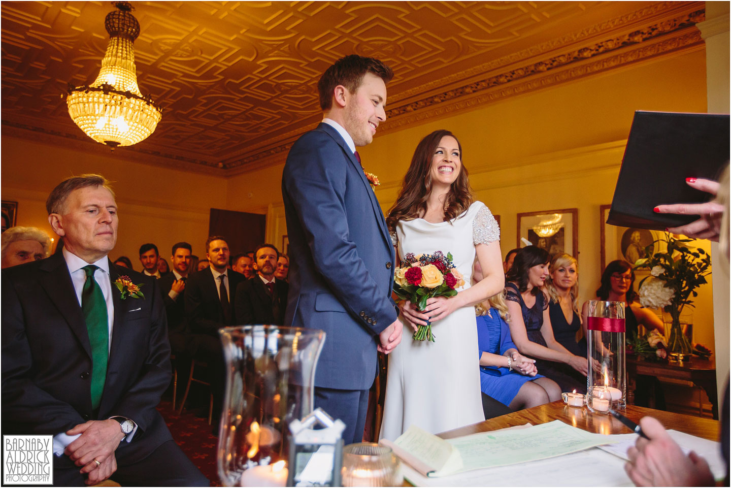 A Crow Hill wedding ceremony photo at a Spring ceremony at a Marsden West Yorkshire Country House by Photographer Barnaby Aldrick