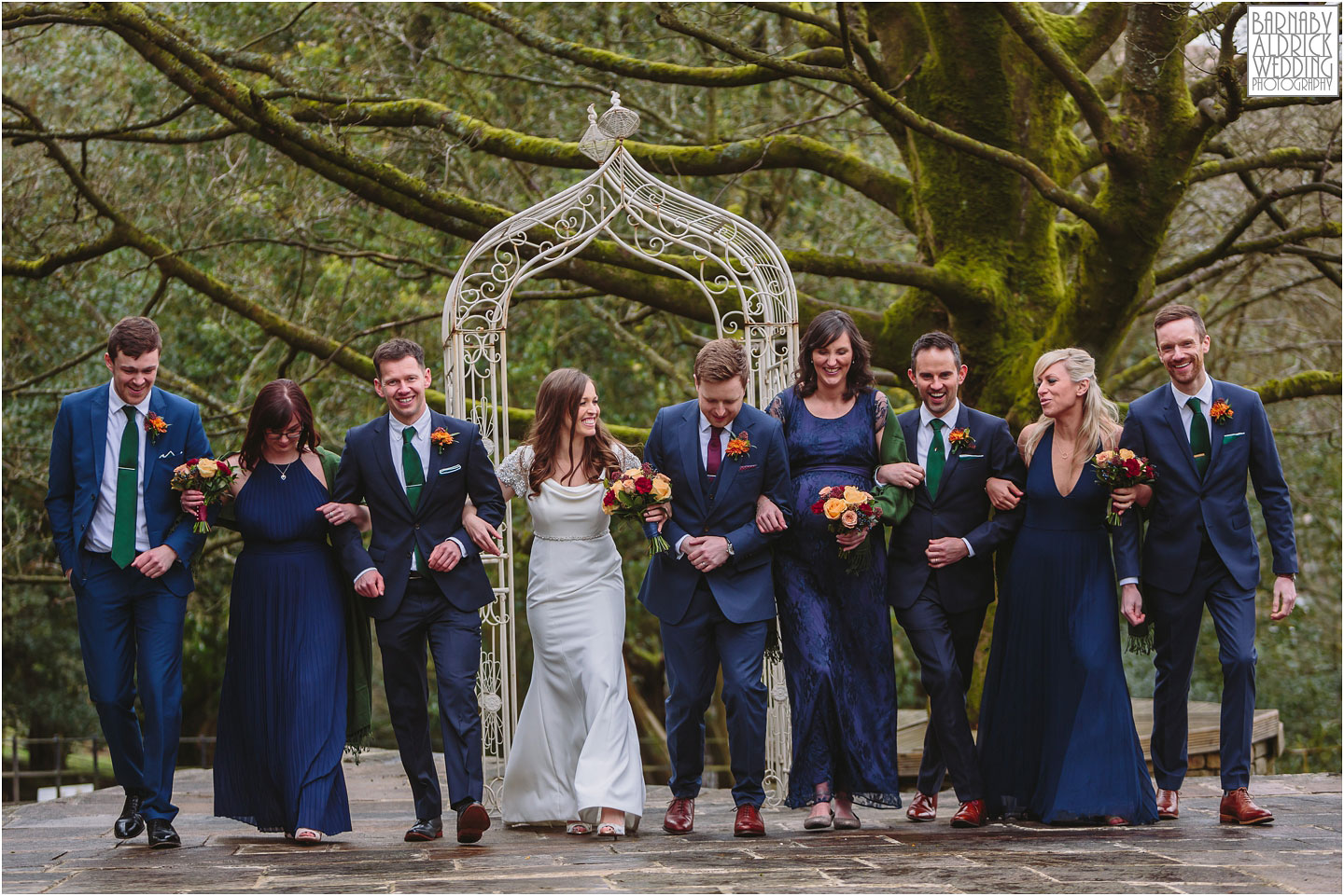 A cool wedding group photograph at Crow Hill a Marsden West Yorkshire Country House by Photographer Barnaby Aldrick