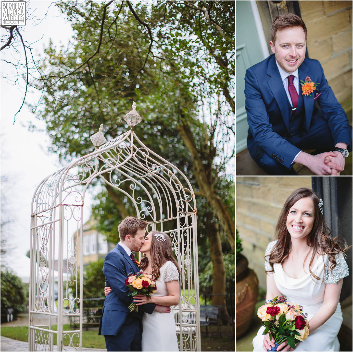 Wedding portraits of a happy couple at Crow Hill a Marsden West Yorkshire Country House by Photographer Barnaby Aldrick