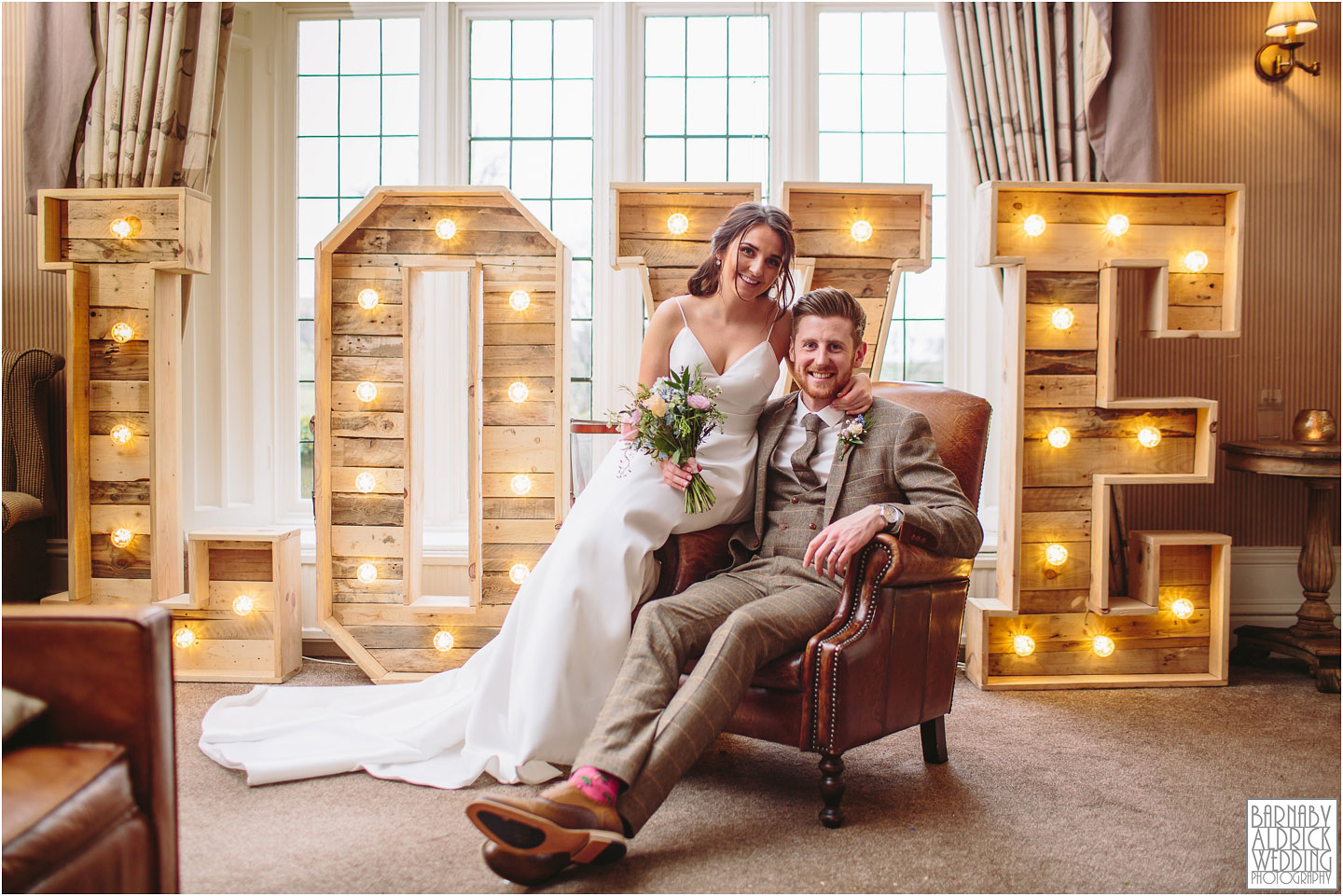 Indoor rainy wedding photos at Falcon Manor in Settle in the Yorkshire Dales