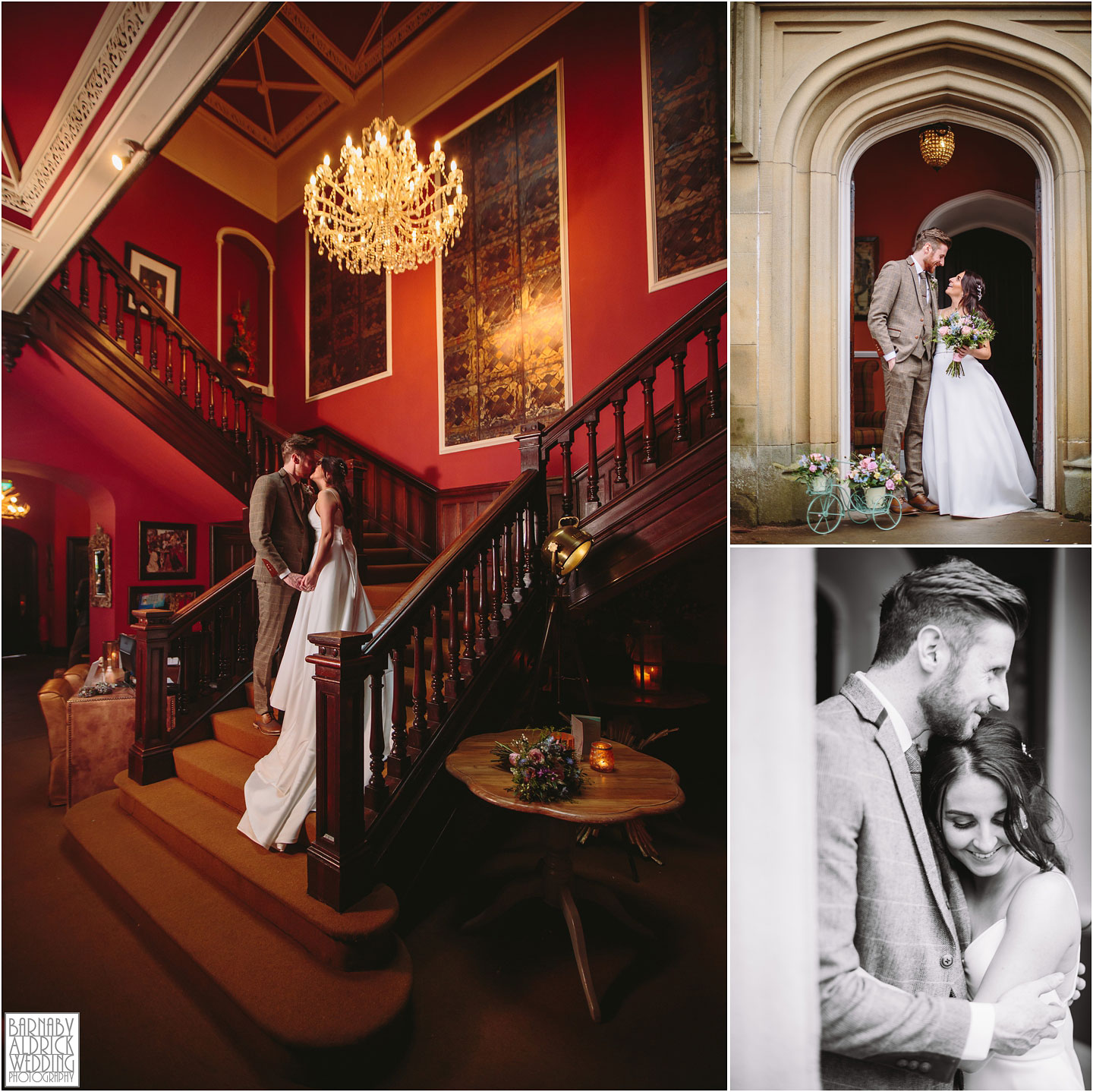 Grand staircase wedding photo, Falcon Manor Wedding portraits,