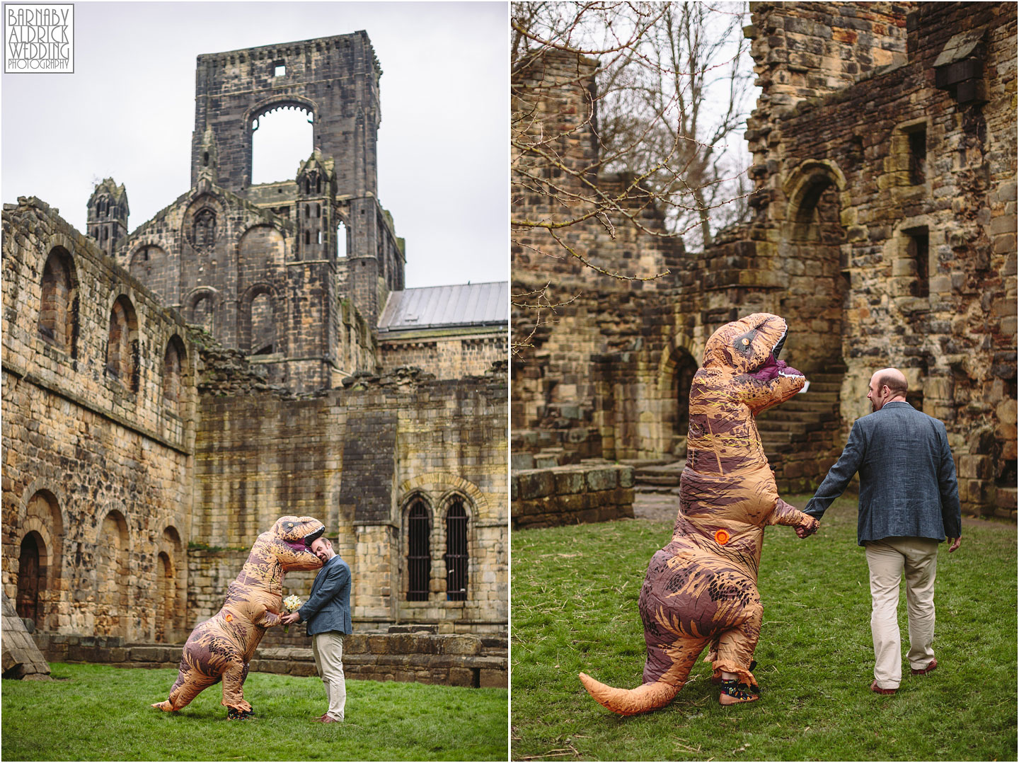 T-Res Fancy Dress Pre-Wedding Shoot, Dinosaur wedding outfit, Fancy dress engagement shoot ideas, wild engagement shoot ideas