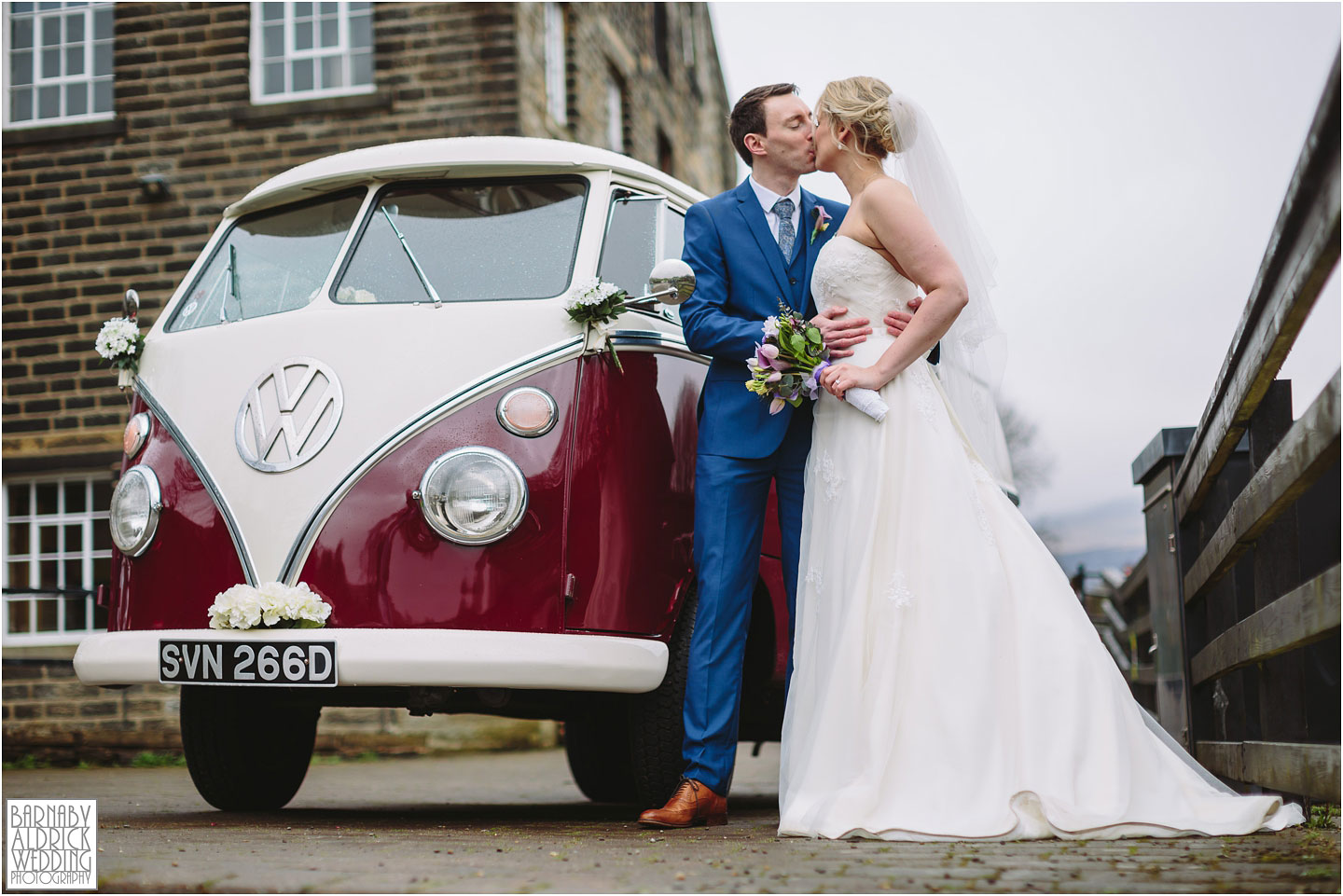 Wedding portraits with Florence the VW campervan at a wedding at Standedge Tunnel and Visitor Centre in Marsden