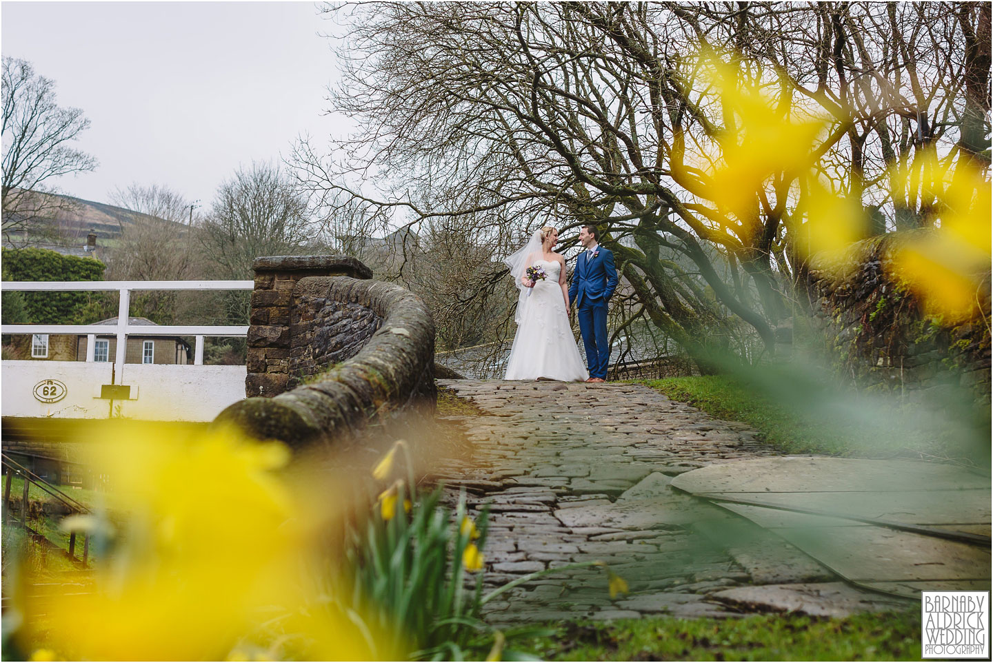 A spring wedding portrait at a wedding at Standedge Tunnel and Visitor Centre in Marsden