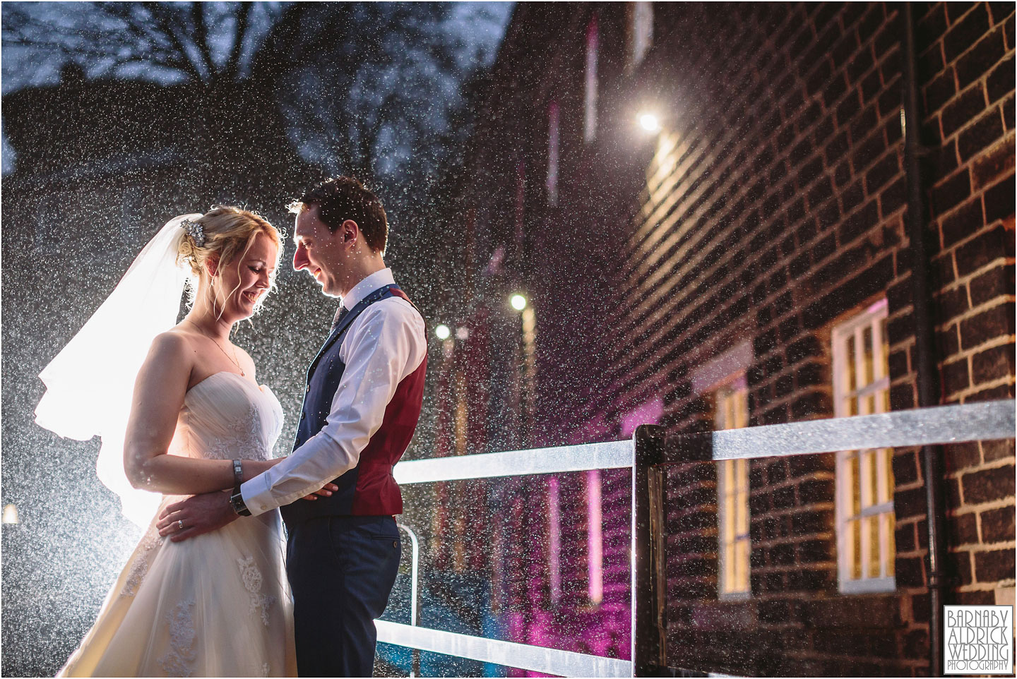 Drizzly evening portraits at a Standedge Tunnel wedding in Marsden