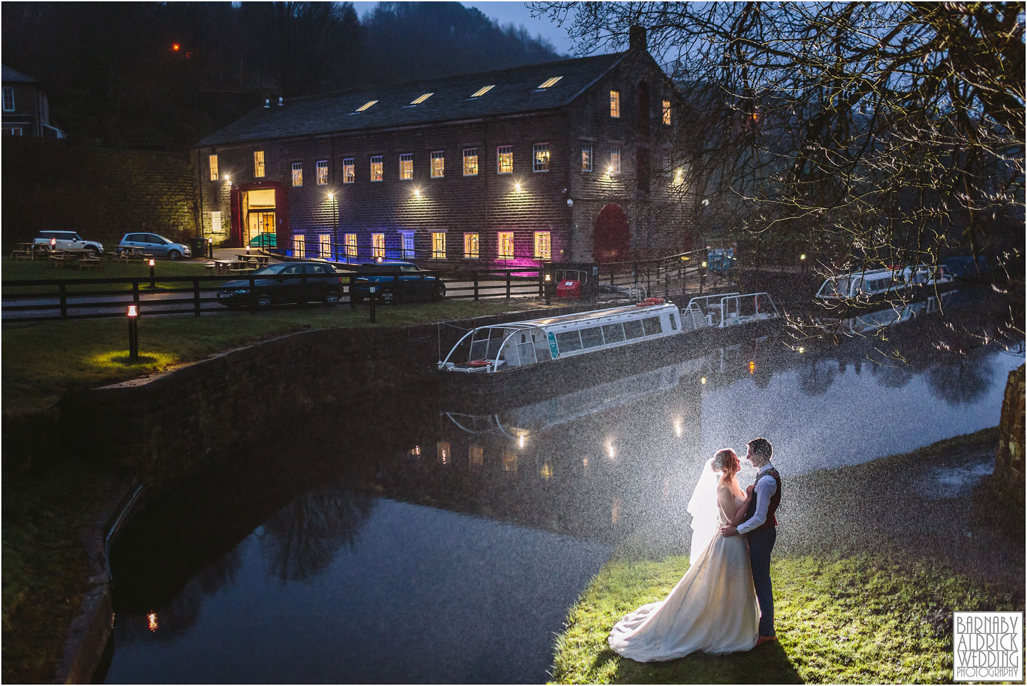 Evening flash portraits at a Standedge Tunnel Visitors Centre wedding in Marsden in Yorkshire