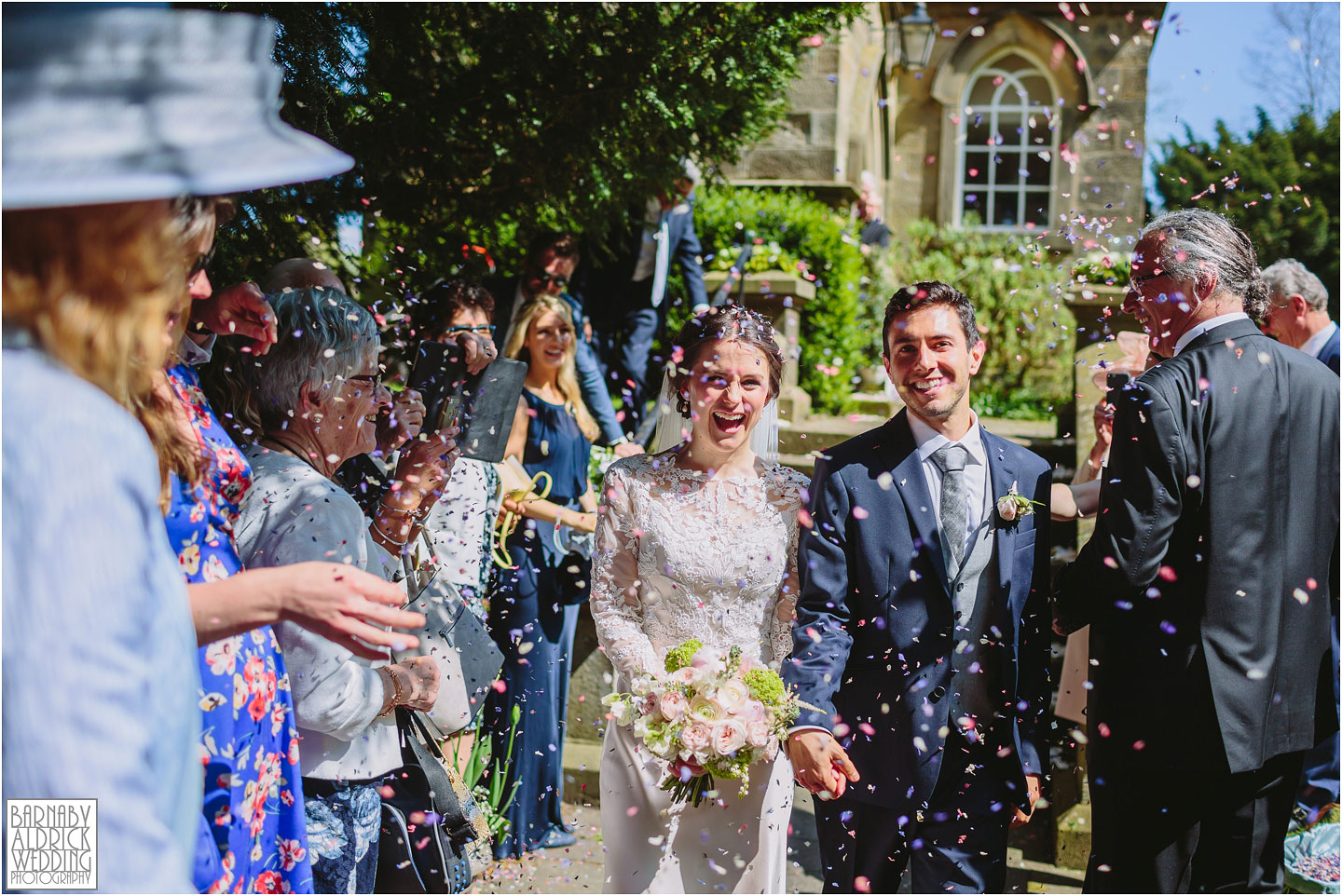 Wedding Confetti photo at St Helens Denton, exclusive country house in Ilkley in West Yorkshire, great confetti shot