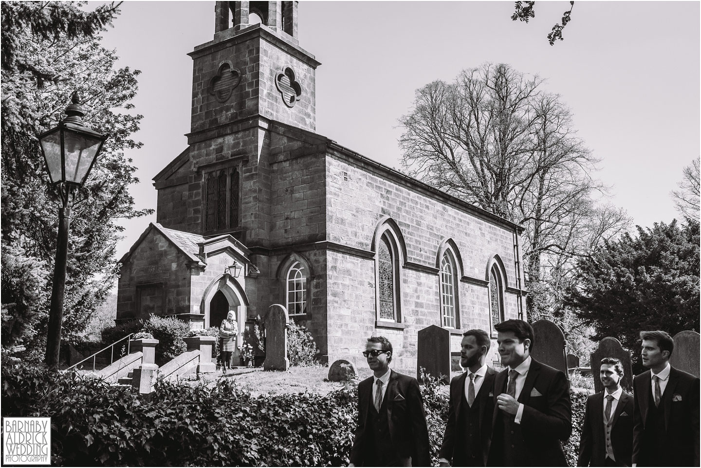 Groomsmen arriving at St Helens Denton, exclusive country house in Ilkley in West Yorkshire