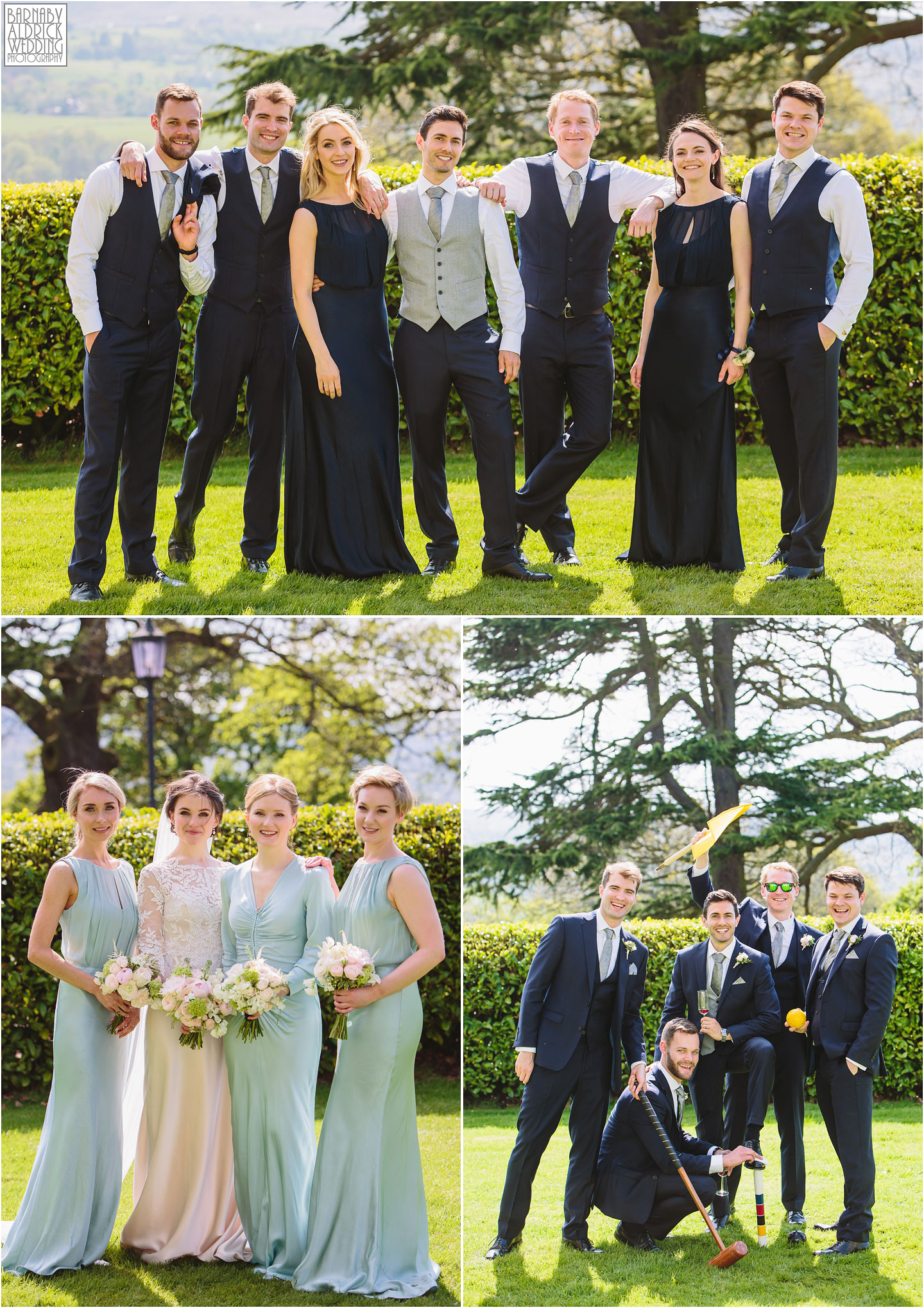 Fun Wedding group shots at Denton Hall, West Yorkshire Exclusive Wedding Venue, Wedding photos by Barnaby Aldrick