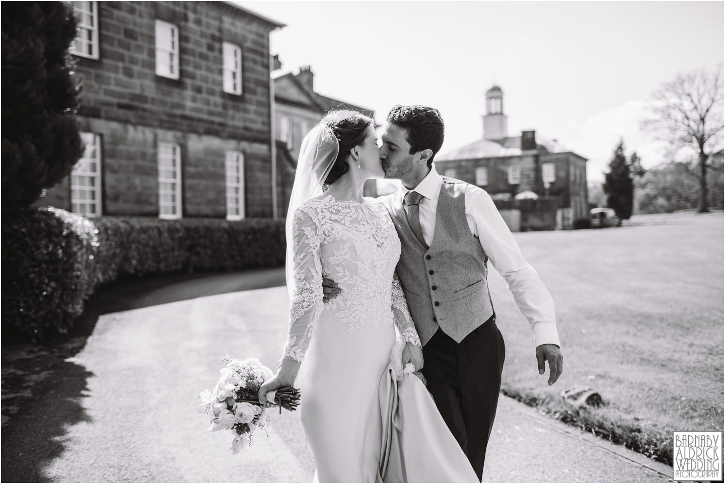 Sunny wedding portrait at Denton Hall, West Yorkshire Exclusive Wedding Venue, Wedding photos by Barnaby Aldrick