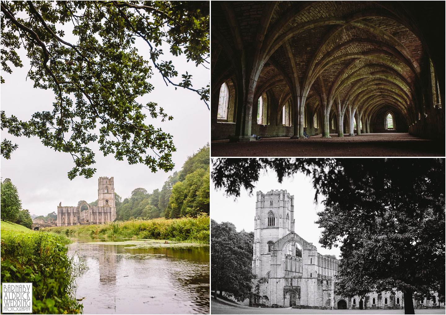 Wedding photos at Fountains Abbey showing the view from Studley Royal and the cellarium