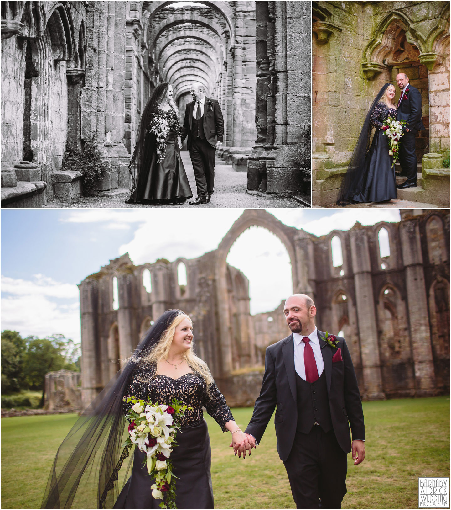 Fountains Abbey runis portraits from a summer wedding