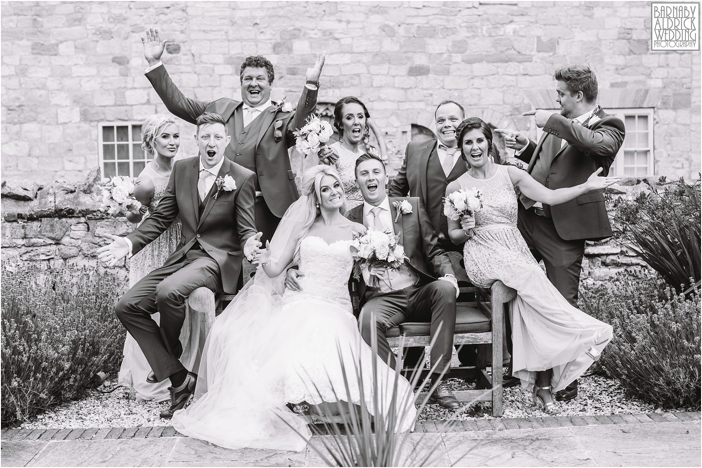 Fun Bridesmaids groomsman photo at Priory Cottages Wetherby