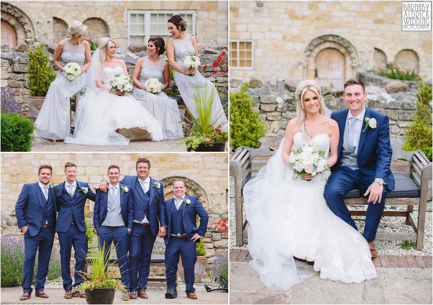 Bridesmaids groomsman photos at Priory Cottages Wetherby