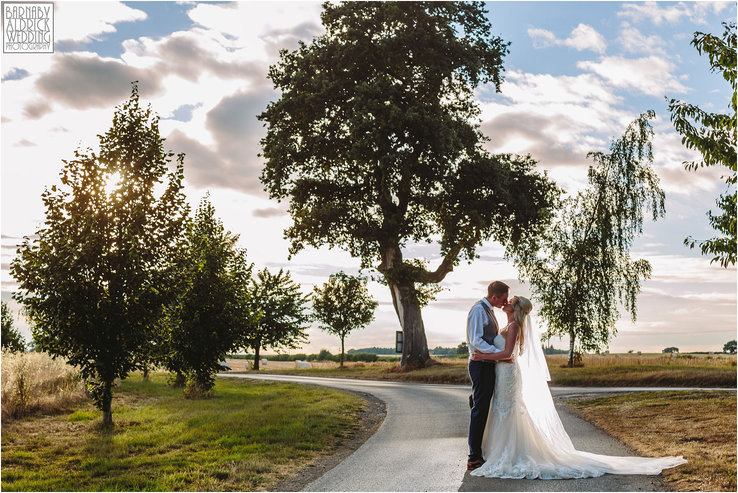 Sunset couple portrait at Priory Cottages Wetherby