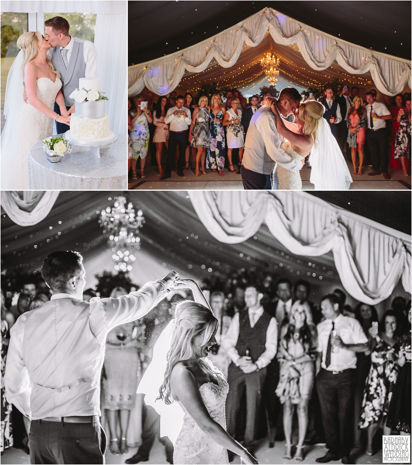 Cake cut and first dance at Priory Cottages Wetherby