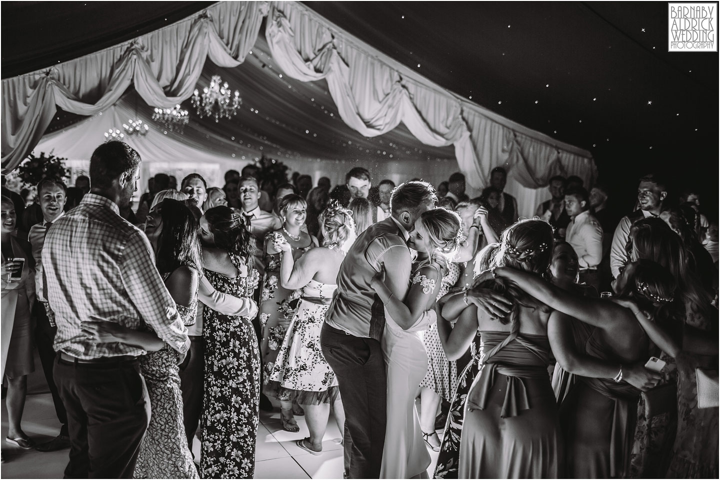 Wedding photography dancefloor at Priory Cottages near Wetherby in Yorkshire