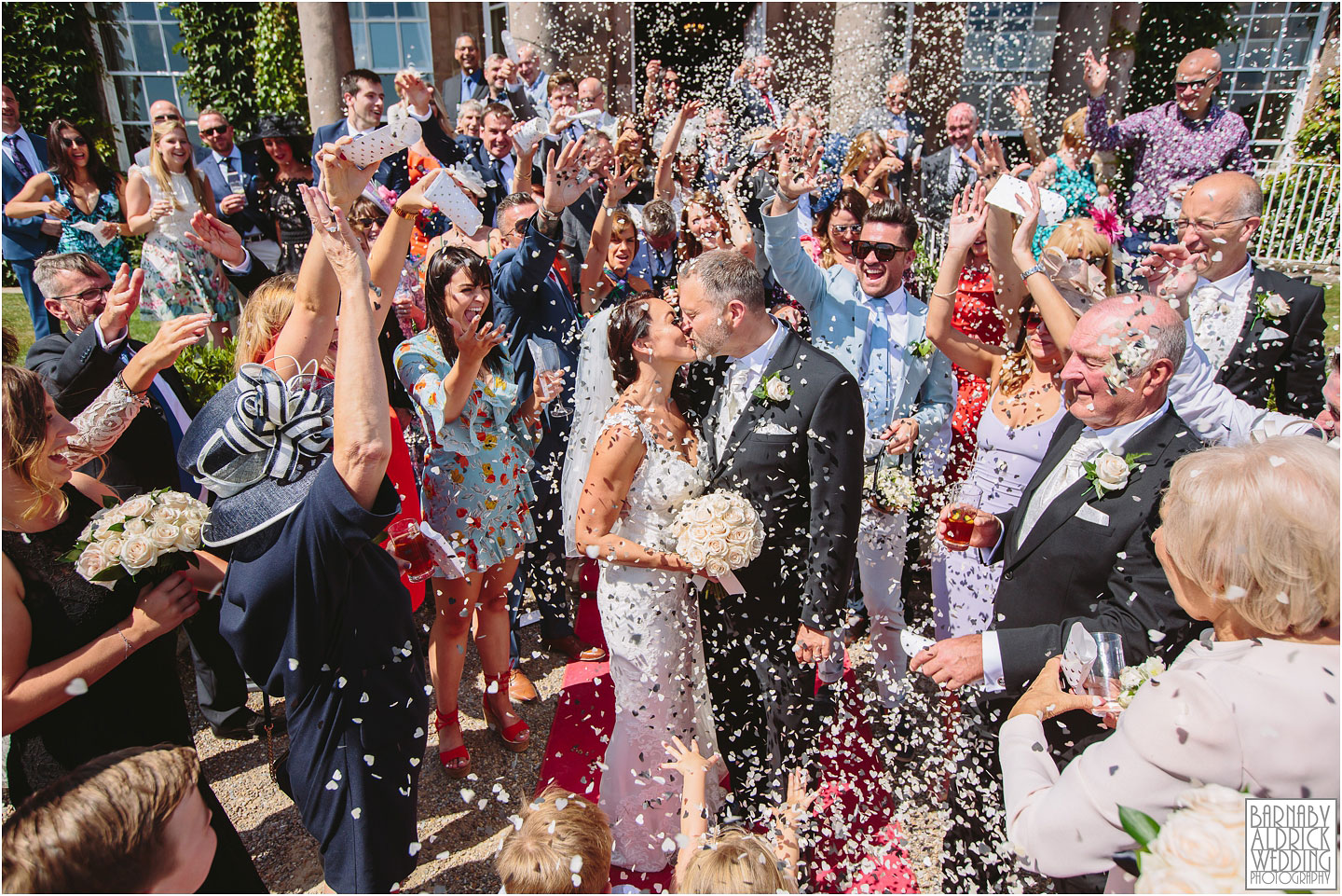 Confetti Wedding photo at Wood Hall near Wetherby in West Yorkshire