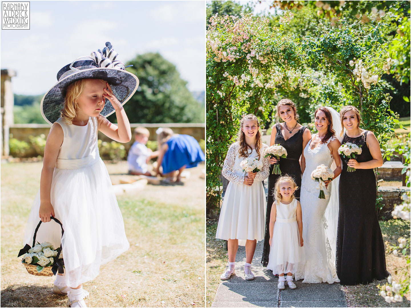 A funny flower girl and bridal party wedding photo at Wood Hall in Yorkshire